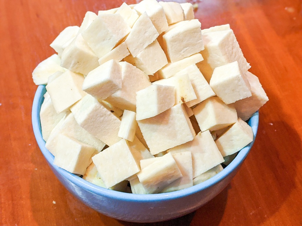 cubed white yam