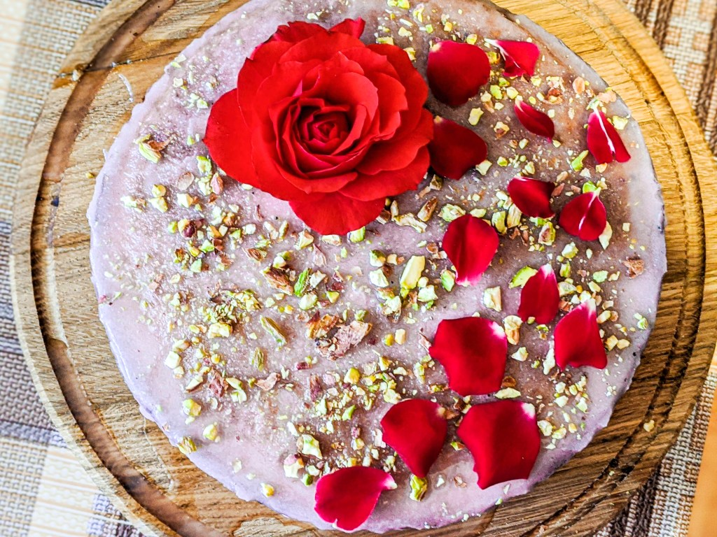 Almond rose cake with homemade rose syrup