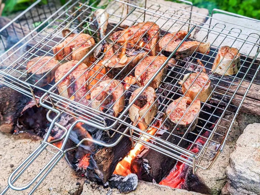 BBQ Chili Mackerel on an open fire