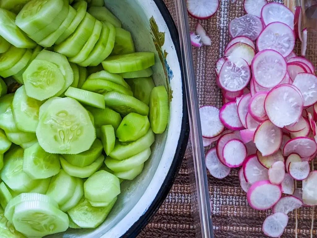 cucumber and radish circles
