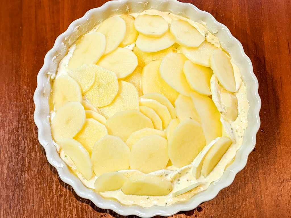building the second cream layer for the The Most Decadent Gratin Dauphinois