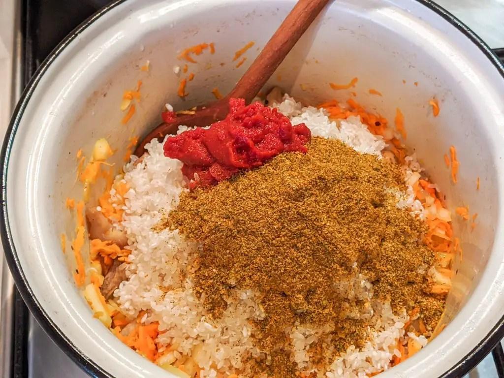 Ukrainian Pork Plov (Rice Pilaf) ingredients and spices