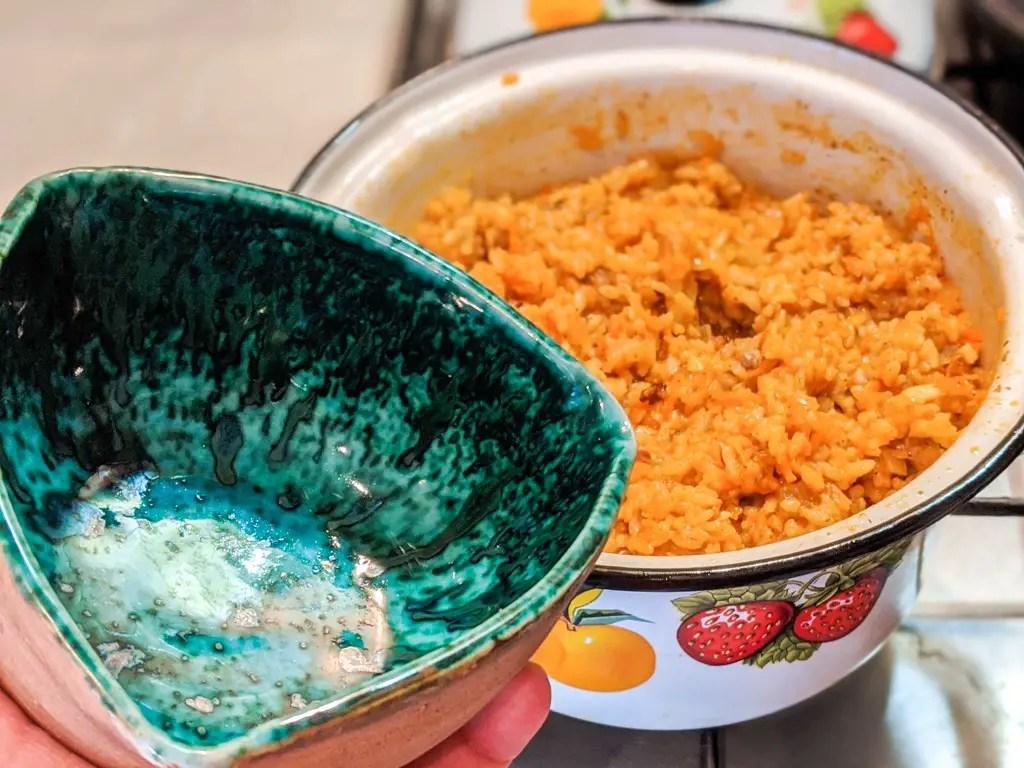 Ukrainian Pork Plov (Rice Pilaf) with bowl