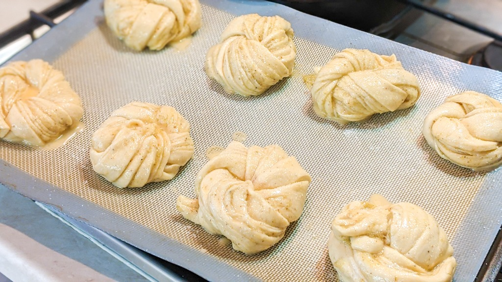 Swedish Cardamom Buns ready to go in the oven