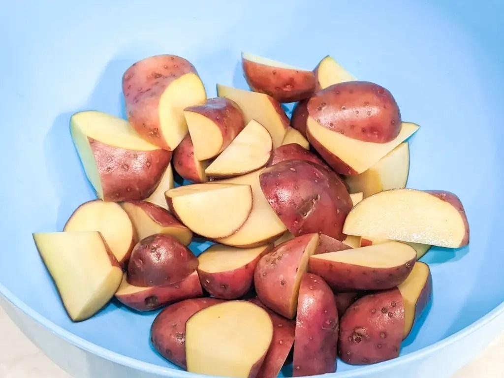 red potatoes quartered