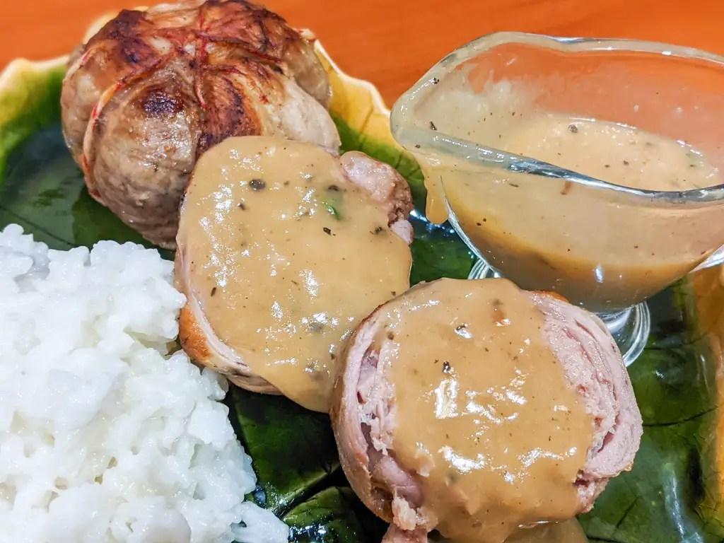 Single Serving Turducken Ballotines with turducken gravy