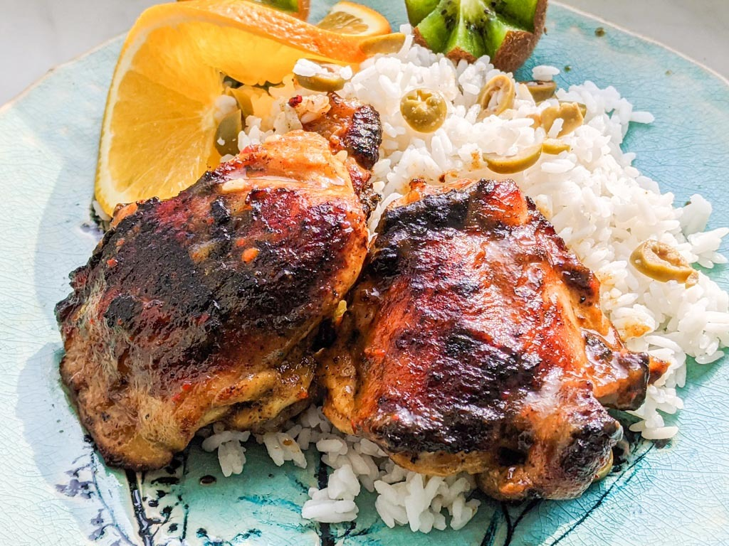 Tropical Grilled Chicken Thighs with olive rice