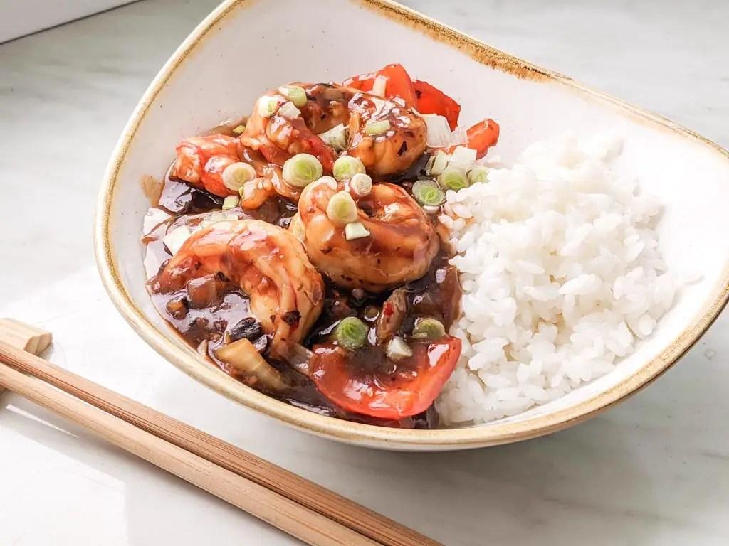 Cantonese Style Black Bean Shrimp (Prawns)