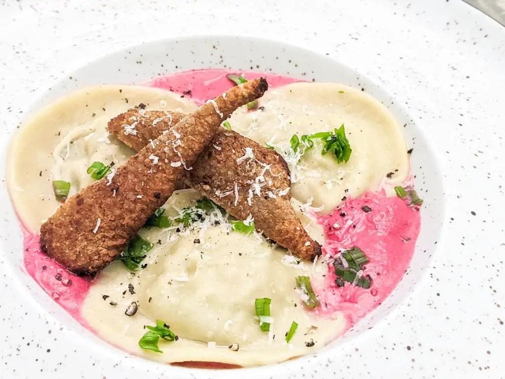 Duck Ravioli In Beetroot Cream Sauce