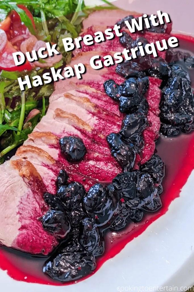 Duck Breast With Haskap Gastrique pinterest pin