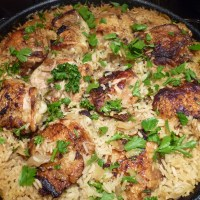 One Pot Chicken Thighs and Lemon Rice