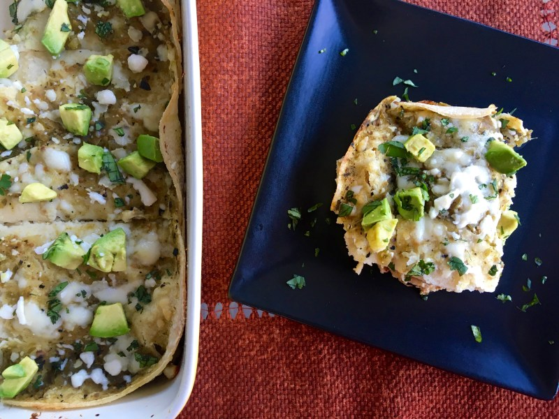 Green Chile Chicken Enchilada Bake - Cooking Up Happiness