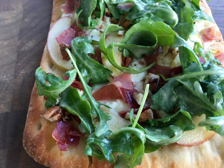 Prosciutto, Apple and Goat Cheese Flatbread - Cooking Up Happiness