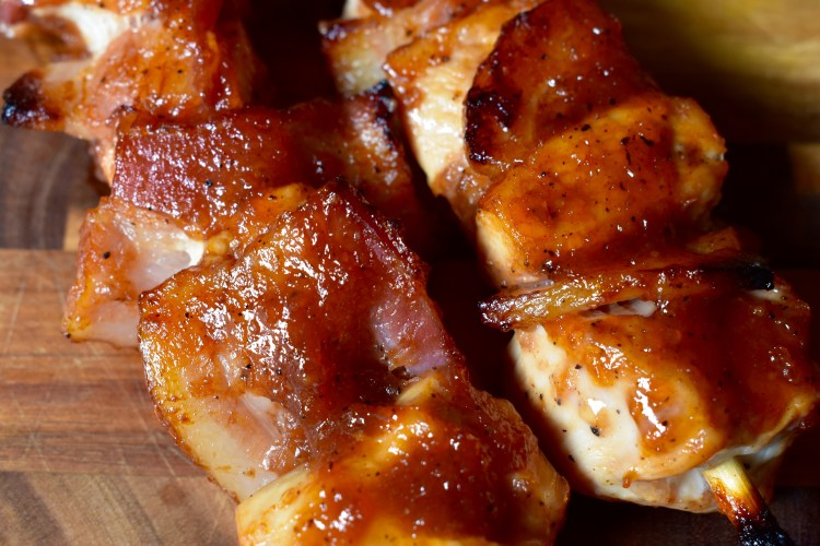 Bourbon BBQ Bacon Chicken Kabobs - Cooking Up Happiness