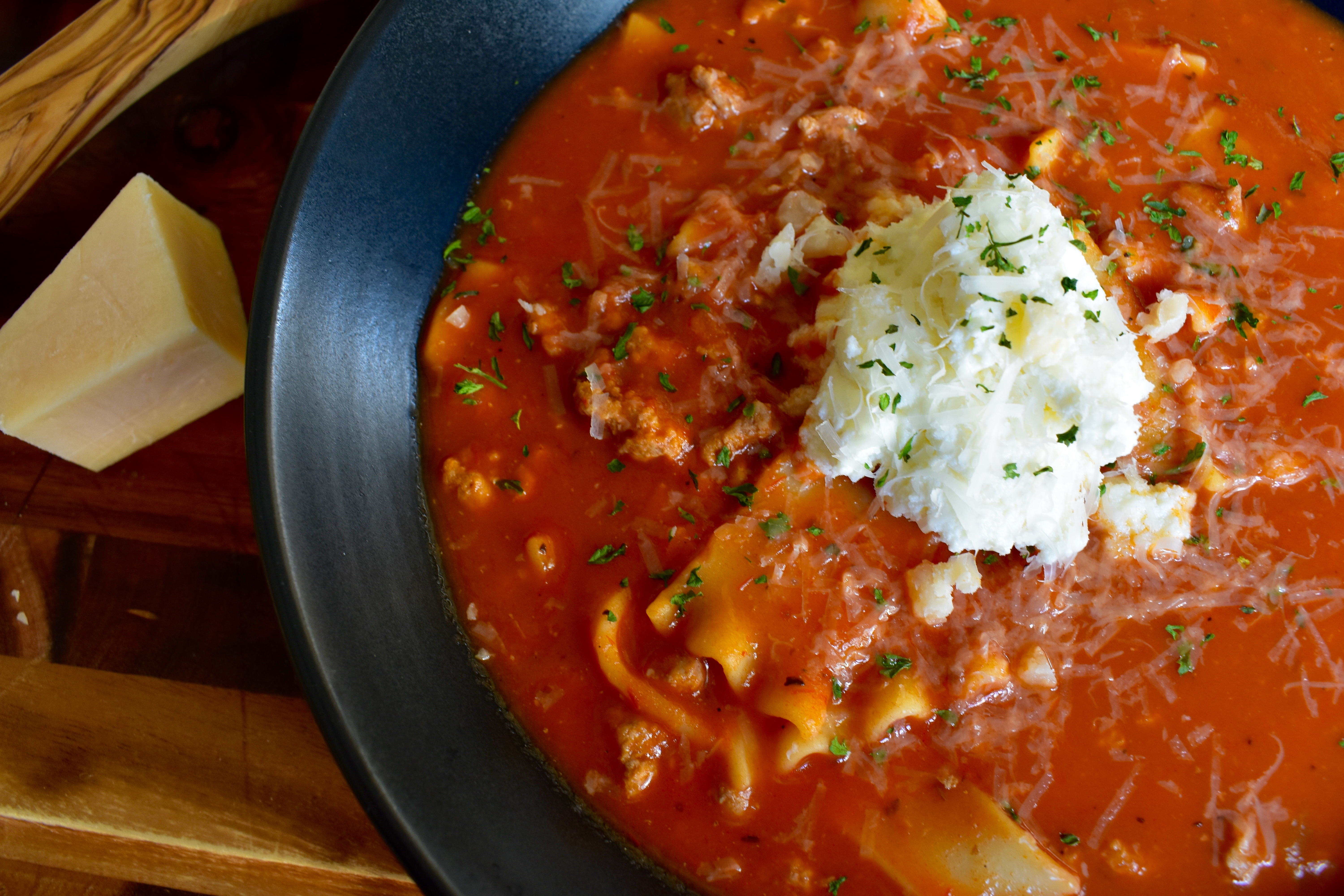 Healthy Turkey Lasagna Soup - Cooking Up Happiness