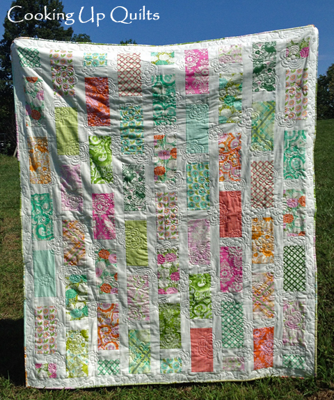 Garden Quilt Brick Pattern FMQ Loopy Flower