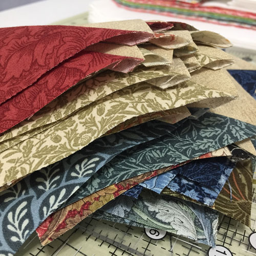 Stacked HSTs William Morris Moda fabric