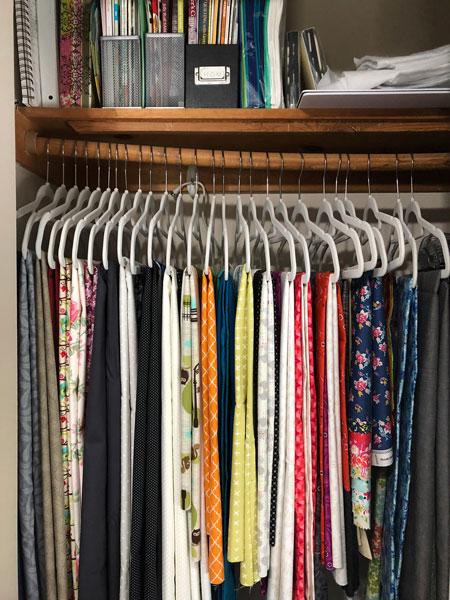 Hanging yardage in closet