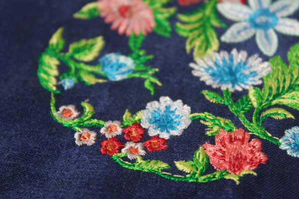 embroidered floral detail