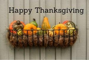 Happy Thanksgiving pumpkins on wall