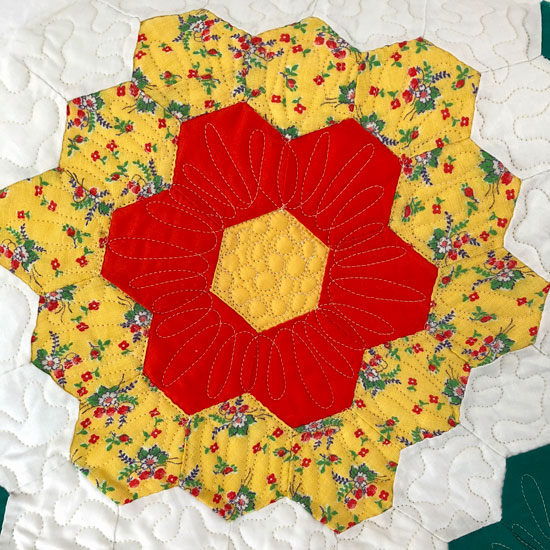 Feedsack fabric yellow floral