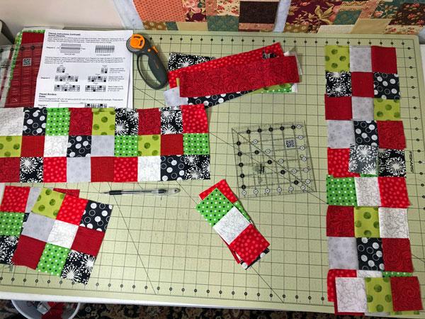 Nine Patch blocks for Santa panel quilt