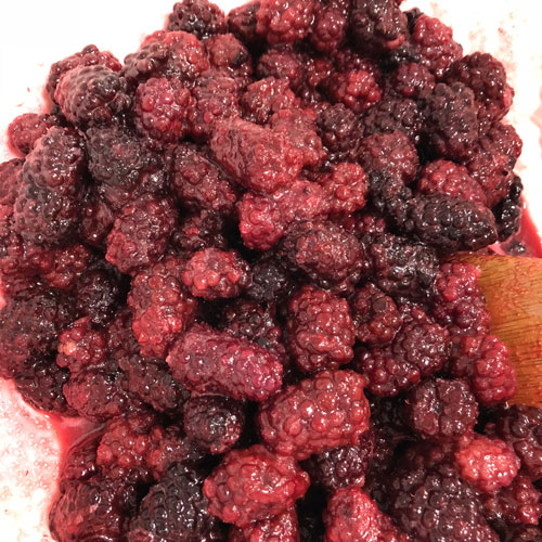 Blackberries mixed with sugar and cornstarch