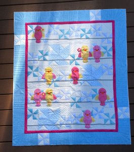 Bird applique quilt quilted by Beth Sellers of Cooking Up Quilts