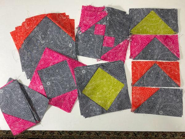 Mosaic Mystery pieced blocks