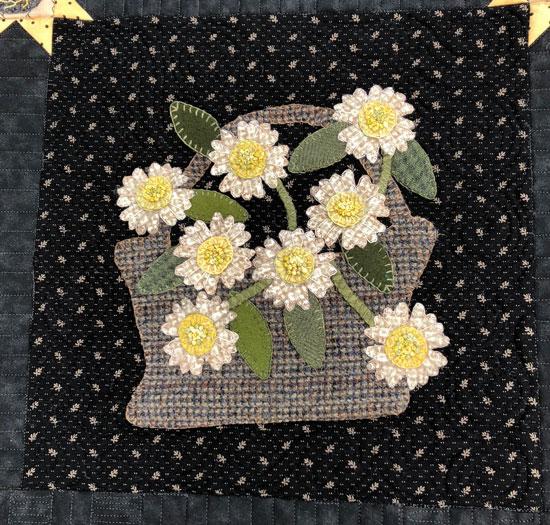 Moon Garden Wool Applique Block