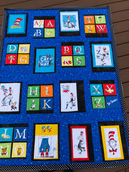 Dr. Suess baby quilt quilted by Beth Sellers of Cooking Up Quilts