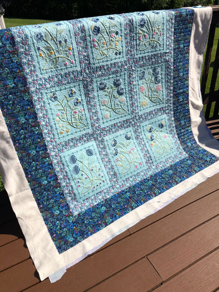 Machine embroidered quilt quilted by Beth Sellers of Cooking Up Quilts