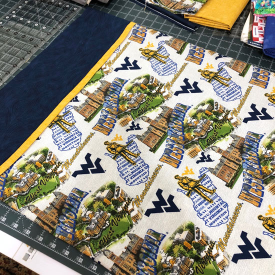 WVU Pillowcase made by Beth Sellers of Cooking Up Quilts