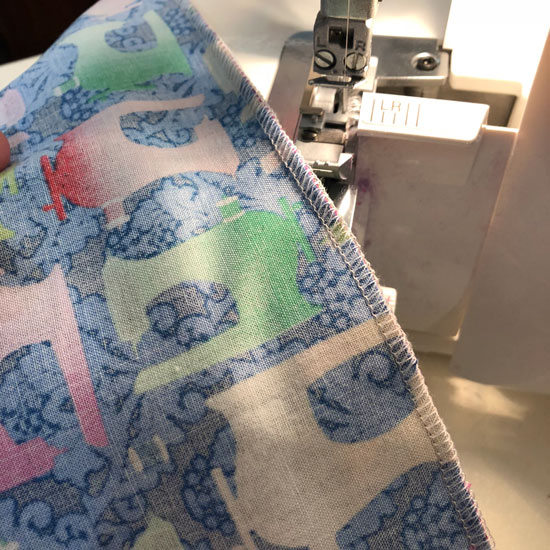 Serged inside edge of pillowcase made by Beth Sellers of Cooking Up Quilts
