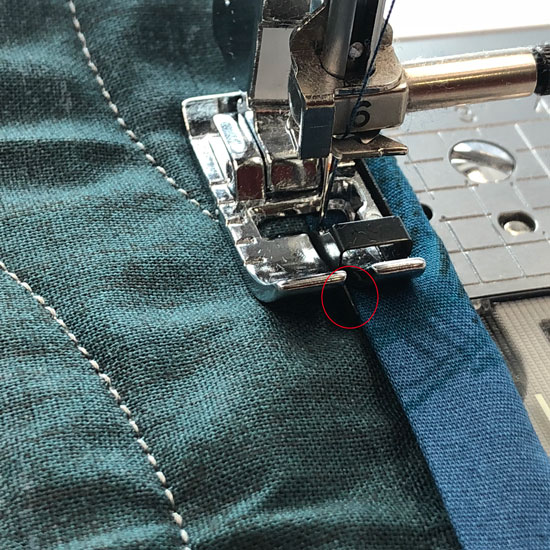 Adding binding using the edge joining foot