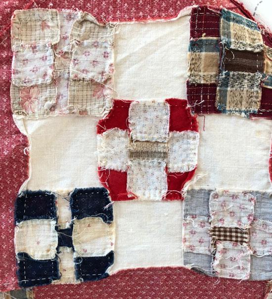 Hand stitched nine patch blocks