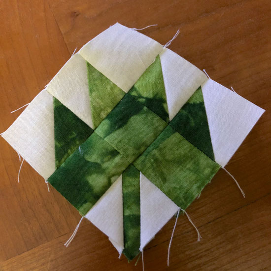 leaf block with hand dyed fabric