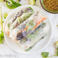 Chicken Spring Rolls with Tamarind Sesame Vinaigrette