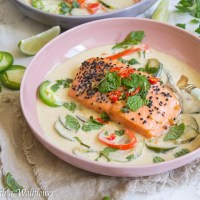 Baked Salmon Green Curry Bowl