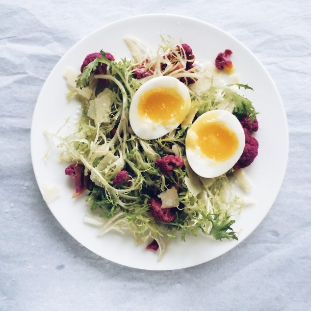 Frisee salad with parmesan, pickled purple cauliflower, and a seven-minute egg | Cooking With Bells On