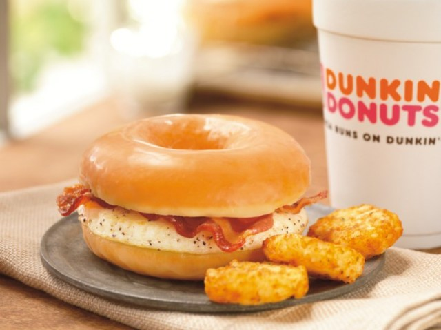2) Dunkin' Donuts Bacon and Eggs on a Donut - Start your day with everything you love.