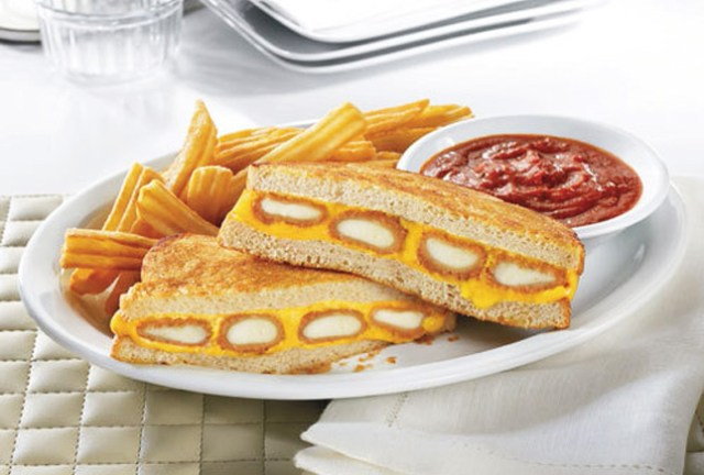 13) Denny's Fried Cheese Melt - This is a grilled cheese with mozzarella sticks on the inside. Also know as heaven on Earth.