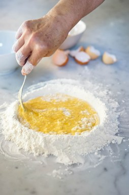 Then slowly mix in the flour.