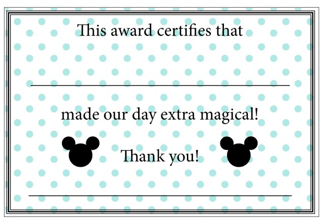 Disney Cast Member Appreciation Certificates