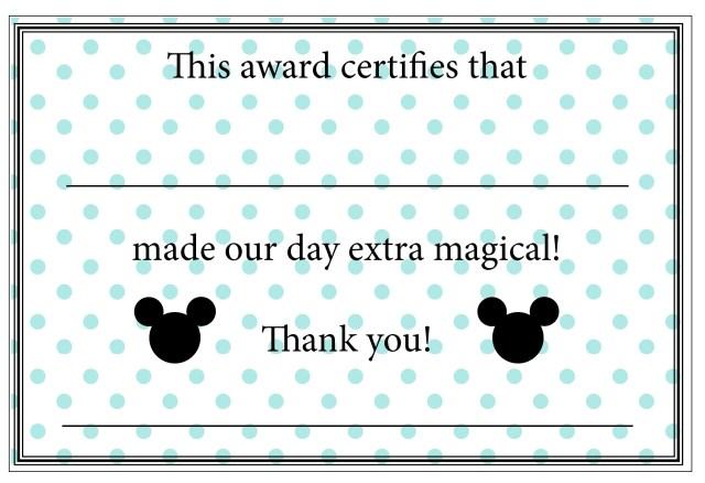 Disney Cast Member Appreciation Certificates