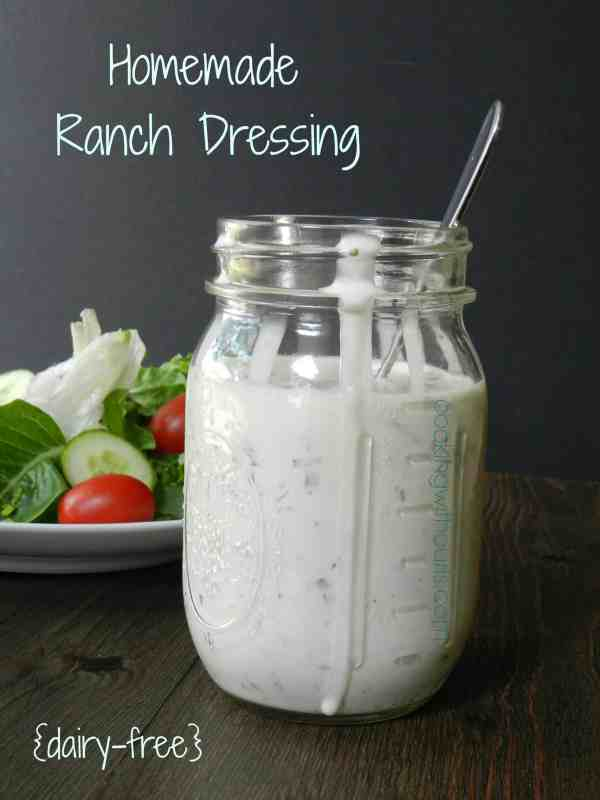 Homemade Ranch Dressing dairyfree substitutions