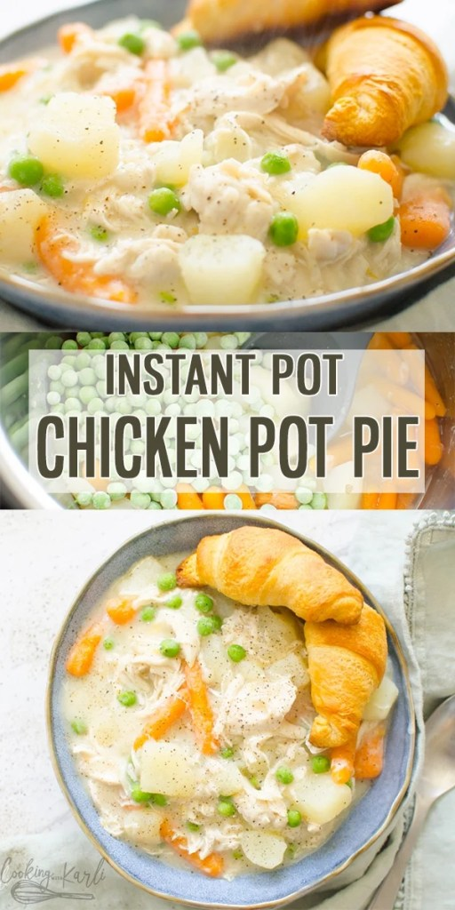 Instant Pot Chicken Pot Pie is all of the flavor from the classic oven baked favorite all made in under 30 minutes! From the perfectly cooked potatoes and carrots to the tender, shredded chicken this one pot, dump & start Instant Pot meal will be your family's favorite! |Cooking with Karli| #chickenpotpie #instantpot #pressurecooker #comfortfood #chicken #onepotmeal #dumpandstart