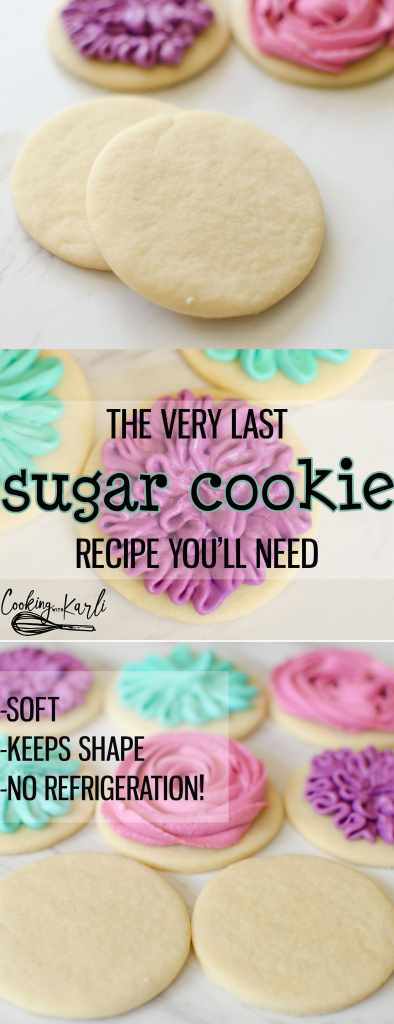 Perfect Sugar Cookie Recipe is really just that-PERFECT. These sugar cookies come together quickly with only 6 ingredients; butter, sugar, egg, vanilla, flour and baking soda. The cookies keep shape while baking, are soft and chewy, plus there is NO refrigeration! This Sugar Cookie recipe is PERFECTION! -Cooking with Karli- #sugarcookie #recipe #easy #fast #cutout