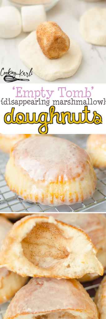 Empty Tomb 'Disappearing Marshmallow' Doughnuts are a tasty treat with a great Easter message. Made from biscuit dough and marshmallows dipped in cinnamon and sugar, then lightly fried before being dunked in doughnut glaze.