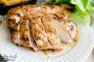 Grilled chicken seasoned with a homemade rub made from ranch dressing packet, italian dressing packet and chili powder.